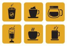 Fastställda kaffesymboler Royaltyfri Bild