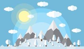 Vektorillustration av de höga bergen och kullarna, skogen som utom fara täckas i snö, klar vinterdag, solen Royaltyfri Bild