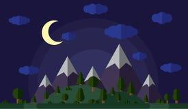 Vektorillustration av de höga bergen och kullarna som täckas i den gröna skogen, månbelyst natt, en klar stjärnklar himmel med Arkivbild