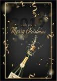 Vektorillustration av den öppnade flaskan av champagne eller mousserande vin med en kork och färgstänk i photorealistic stil gree vektor illustrationer