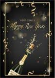 Vektorillustration av den öppnade flaskan av champagne eller mousserande vin med en kork och färgstänk i photorealistic stil gree royaltyfri illustrationer