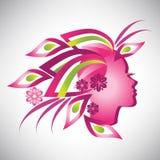 Vektorillustration av den abstrakta härliga stiliserade rosa konturn för kvinna i profil med blom- hår Royaltyfria Bilder