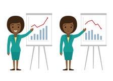 Vektorillustration av den afro amerikanska affärskvinnavisninggrafen stock illustrationer