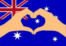 Vektorillustration av den Australien flaggan och händer som gör en hjärta att forma Royaltyfri Foto