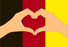Vektorillustration av den Belgien flaggan och händer som gör en hjärta att forma Arkivfoton