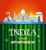 Vektorillustration av den berömda monumentet av Indien i indisk bakgrund för 15th August Happy Independence Day av Indien Arkivfoton