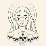 Vektorillustration av den blinda nunnan Arkivfoton