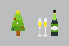 Vektorillustration av den dekorerade julgran- och champagneflaskan Royaltyfri Bild
