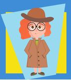 Vektorillustration av den detektiv- flickan royaltyfri illustrationer