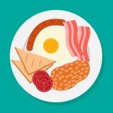 Vektorillustration av den engelska frukosten på plattan Stock Illustrationer