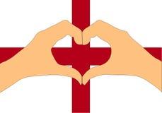 Vektorillustration av den England flaggan och händer som gör en hjärta att forma Royaltyfri Bild