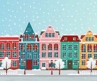 Vektorillustration av den europeiska vinterstaden Arkivfoton