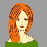 Vektorillustration av den flotta röda hårflickan med röd läppstift vektor illustrationer