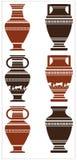 Vektorillustration av den forntida vasen med grekiska ornamen Royaltyfri Bild