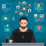 Vektorillustration av den fundersamma mannen för skäggig coderen hacker som tänker på tabellen stock illustrationer