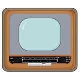 Vektorillustration av den gammala TVseten vektor illustrationer