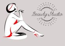 Vektorillustration av den glamorösa flickan Skönhetstudio Spa hår Arkivbild
