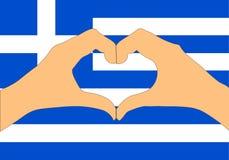Vektorillustration av den Grekland flaggan och händer som gör en hjärta att forma Royaltyfria Foton