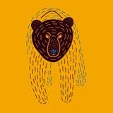 Vektorillustration av den gullig hand drog björnen royaltyfri illustrationer