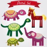 Vektorillustration av den gulliga djuruppsättninghästen, elefant, sköldpadda, dinosaurie Arkivbild