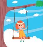 Vektorillustration av den gulliga flickan som svänger på en gunga royaltyfri illustrationer