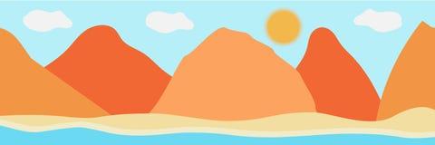 Vektorillustration av den h?rliga panoramautsikten Berg i sommar med ser eller havet, morgonberget, landskap stock illustrationer