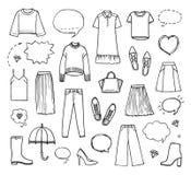 Vektorillustration av den hand drog modesamlingen Royaltyfri Bild