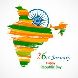 Vektorillustration av den Indien republikdagen för 26 Januari stock illustrationer