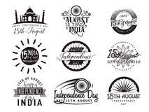 Vektorillustration av den Indien självständighetsdagen August gratulation 15th Royaltyfria Foton