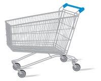 Isolerad shoppa vagn på viten Arkivfoton