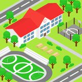 Vektorillustration av den isometriska skolan och den stora gröna gården, lekplats, fotbollsplan, basketjordning, träd stock illustrationer