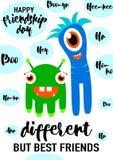 Vektorillustration av den kalla moderna lyckliga kamratskapdaggratulationen i enkel stil för mode med bokstävercitationsteckentex Royaltyfri Fotografi