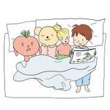 Vektorillustration av den lilla ungen i pyjamas som läser en läggdagsberättelse till hennes dockor i sovrum royaltyfri illustrationer