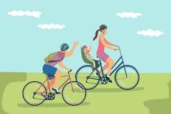 Vektorillustration av den lyckliga familjen i hjälmar som utomhus rider cyklar stock illustrationer