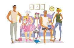 Vektorillustration av den lyckliga familjen med morföräldrar Royaltyfri Fotografi