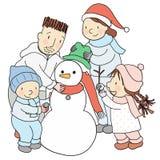 Vektorillustration av den lyckliga familjen som bygger och dekorerar en snögubbe för jultid i vinterferie stock illustrationer