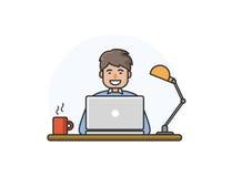 Vektorillustration av den lyckliga mannen som arbetar på datoren Arkivfoton