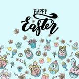 Vektorillustration av den lyckliga påsken Dragen hand märka affischen för påsk Färgpulverillustration Modern kalligrafi Lyckligt royaltyfri illustrationer
