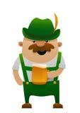 Vektorillustration av den mest oktoberfest roliga mannen för tecknad film med öl Arkivbild
