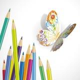 Vektorillustration av den pappers- fjärilen stock illustrationer