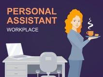 Vektorillustration av den personliga assistenten för kvinnastående med Co stock illustrationer