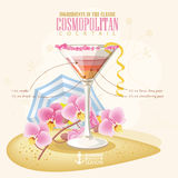 Vektorillustration av den populära alkoholiserade coctailen Kosmopolitiskt klubbaalkoholskott Royaltyfri Foto