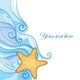 Vektorillustration av den prickiga sjöstjärna- eller havsstjärnan i apelsin och blåa lockiga linjer på vit bakgrund Royaltyfri Bild