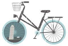 Vektorillustration av den retro cykeln Arkivbilder