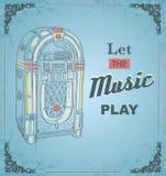 Vektorillustration av den retro juke-box Citationstecknet lät musikleken Royaltyfri Fotografi