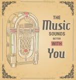 Vektorillustration av den retro juke-box Citera musikljudet Royaltyfri Bild
