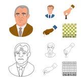 Vektorillustration av den schackmatta och tunna logoen Samling av schackmatt- och målvektorsymbolen för materiel royaltyfri illustrationer