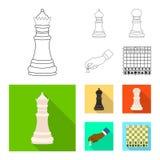 Vektorillustration av den schackmatta och tunna logoen Ställ in av schackmatt och illustration för målmaterielvektor stock illustrationer
