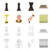 Vektorillustration av den schackmatta och tunna logoen Ställ in av schackmatt- och målvektorsymbolen för materiel vektor illustrationer