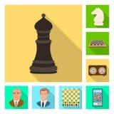 Vektorillustration av den schackmatta och tunna symbolen Samling av schackmatt- och målmaterielsymbolet för rengöringsduk stock illustrationer